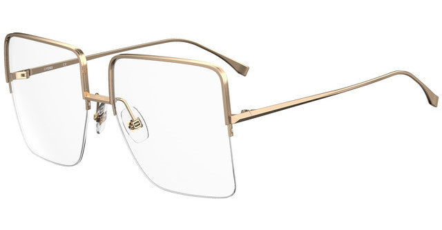 Fendi FF0422 Oversized Gold Square Metal Eyeglasses Frames