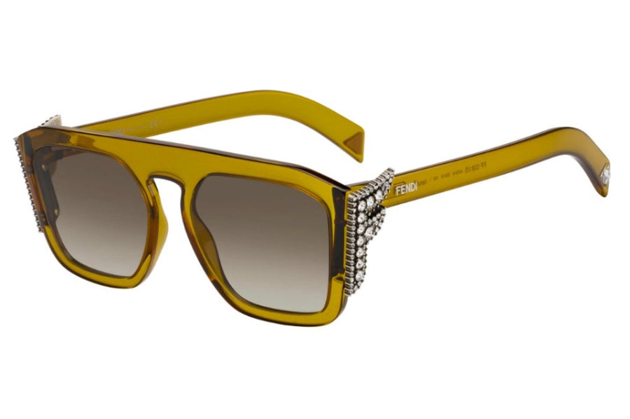 Fendi 0381/S Freedom Crystal Logo Sunglasses in Green