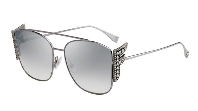 Fendi 0380/G/S Freedom Mirrored Crystal Logo Sunglasses in Silver
