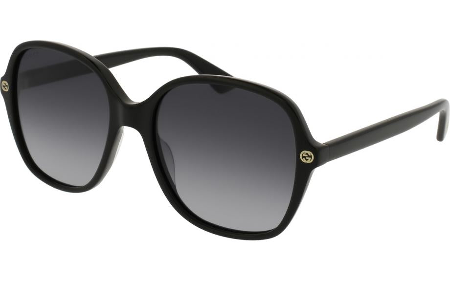 Gucci GG0092S Rounded Rectangle Logo Black Sunglasses