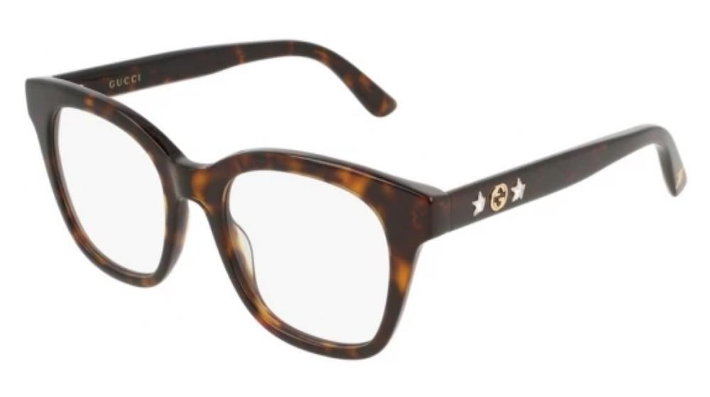 Gucci 0349O Oversized Crystal Star Leg Eyeglasses Frames in Brown