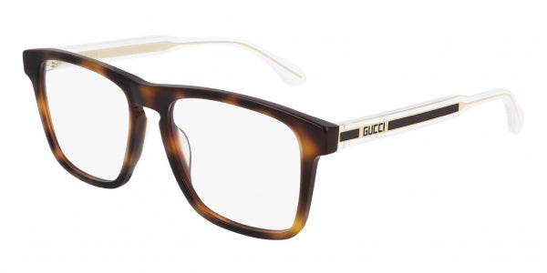 Gucci GG0561O Rectangular Keyhole Clear Leg Eyeglasses Frames in Havana Brown