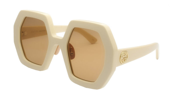 Gucci GG0772S Hexagon Thick Rim Sunglasses in Ivory