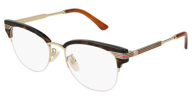 Gucci GG0201O Cat Eye Metal Eyeglasses Frames in Havana Brown