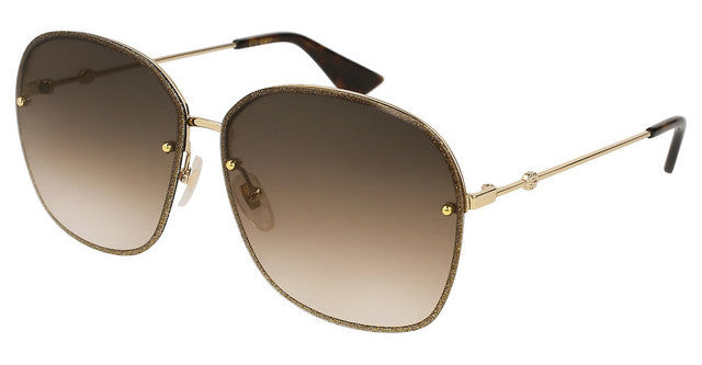 Gucci GG0228S Oversized Rimless Glitter Metal Sunglasses in Brown Gradient