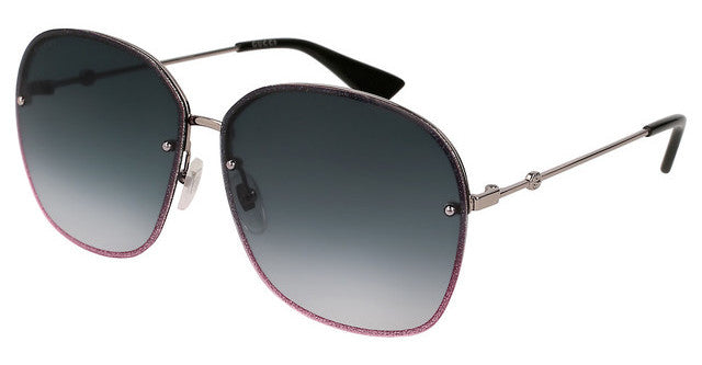Gucci 0228S Oversized Rimless Glitter Metal Sunglasses in Grey Gradient