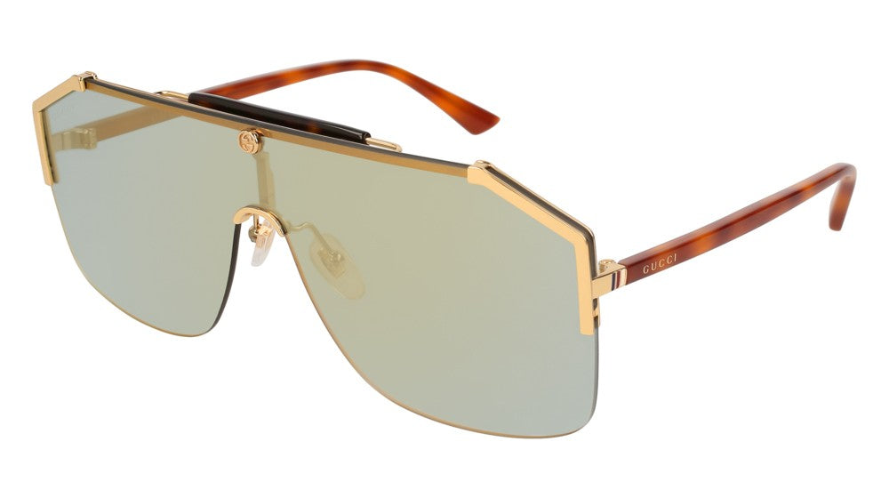 Gucci GG0291S Oversized Rimless Mirrored Sunglasses in Bronze
