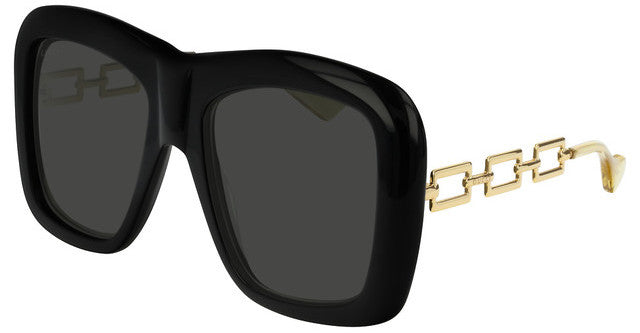 Gucci GG0499S Oversized Chain Leg Square Sunglasses in Black