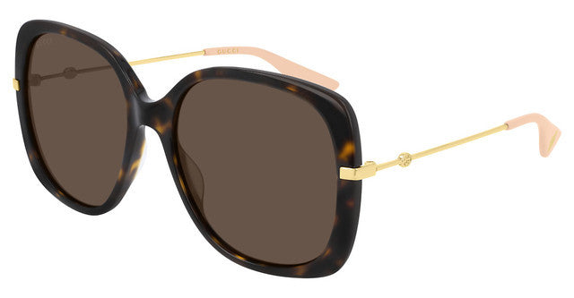 Gucci 0511S Square Metal Leg Oversized Havana Brown Sunglasses