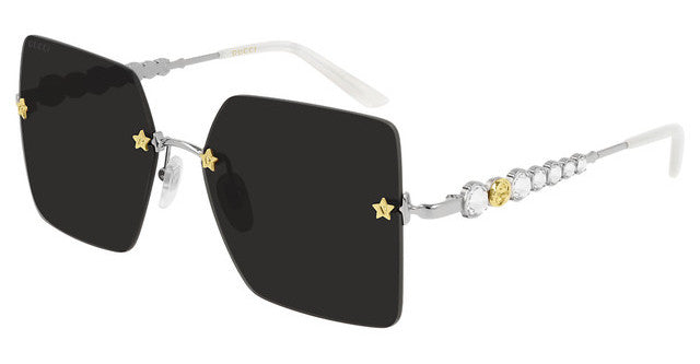 Gucci 0644S Black Rimless Star Lens Crystal Sunglasses