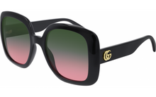 Load image into Gallery viewer, Gucci 0713S Oversized Black Gradient Lens Square Logo Leg Sunglasses