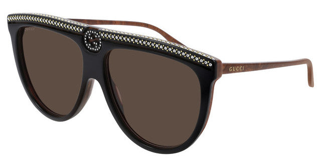 Gucci GG0732S Flat Top Crystal Logo Sunglasses in Black