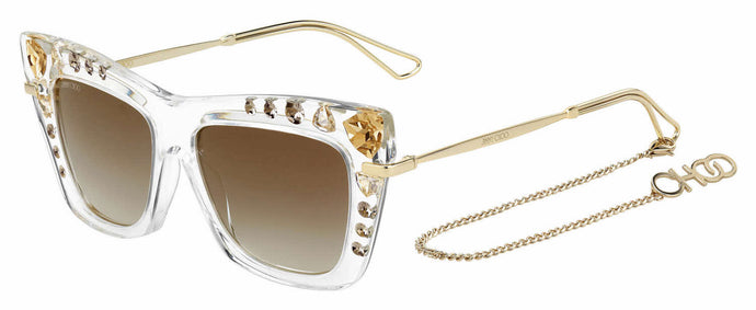 Jimmy Choo Bee/S Cat Eye Crystal Chain Sunglasses in Gold