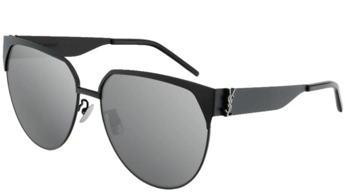 Saint Laurent SLM43 002 Rounded Square Metal Sunglasses in Black Mirrored