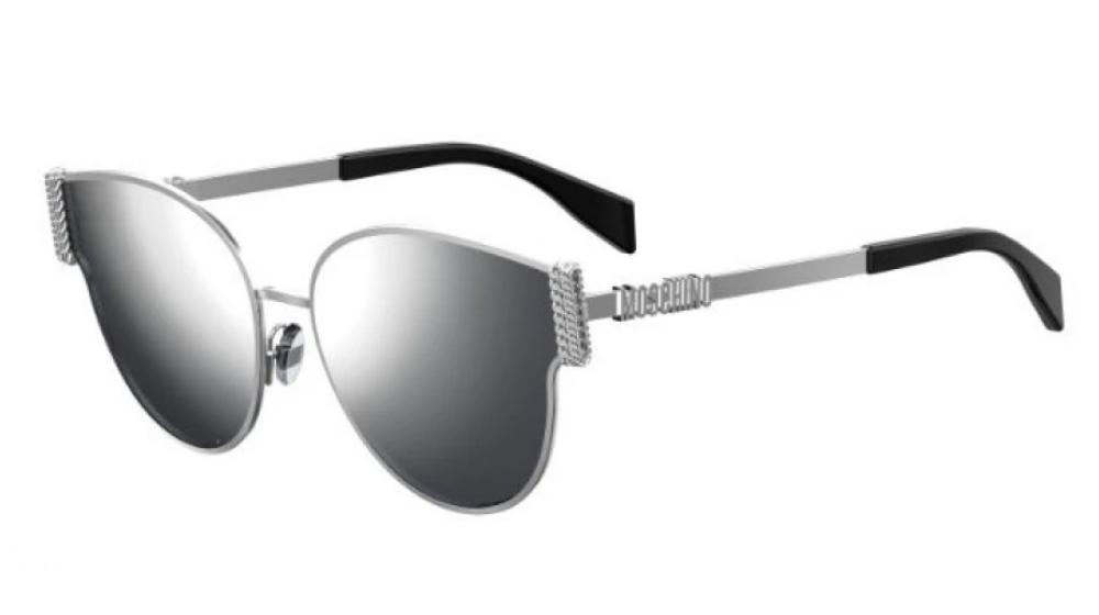 Moschino 028/F/S Mirrored Cat Eye Metal Sunglasses in Silver