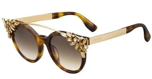 Jimmy Choo Vivy Detachable Crystal Clip On Round Sunglasses in Brown