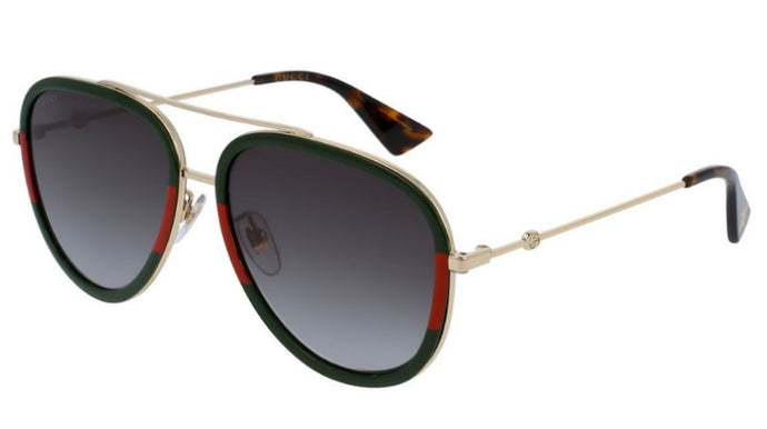 Gucci GG0062S Aviator Sunglasses in Green/Red
