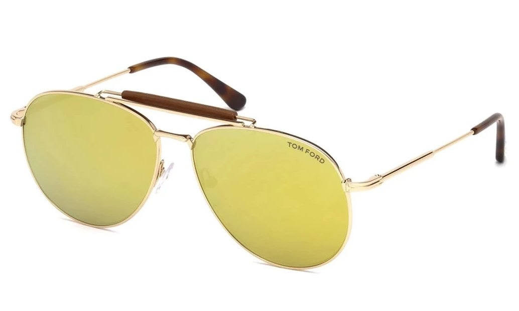 Tom Ford Sean Mirrored Aviator Sunglasses in Gold