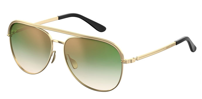 Elie Saab ES012/S Gold Plated Aviator Sunglasses in Green Lens