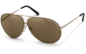 Porsche P8478 A 69mm Aviator Interchangeable Lens Sunglasses in Gold Frame