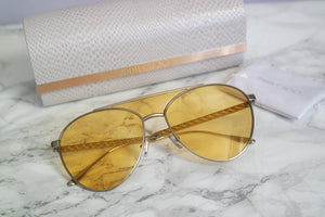 Jimmy Choo Ave Tinted Lens Aviator Sunglasses in Yellow