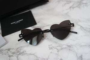 Saint Laurent SL254 Loulou Heart Rimless Sunglasses in Black