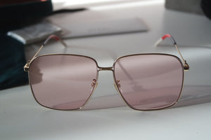 Gucci 0394S Oversized Square Bee Logo Sunglasses in Pink