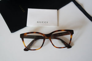 Gucci GG0420O Crystal Logo Cat Eye Eyeglasses Frames in Dark Brown