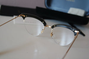 Gucci 0213O Black Pearl Cat Eye Half Rim Eyeglasses Frames