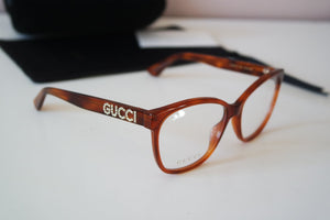 Gucci 0421O Oversized Crystal Logo Leg Eyeglasses Frames in Brown