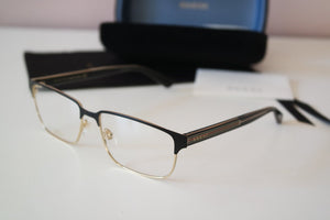 Gucci 0383O Metal Oversized Mens Eyeglasses Frames in Black