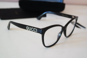 Gucci 0421O Oversized Crystal Logo Leg Eyeglasses Frames in Black