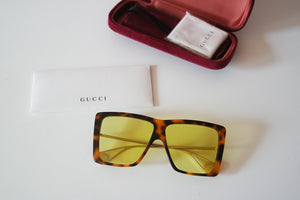 Gucci 0434S Oversized Flat Top Sunglasses in Yellow Tint