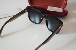 Gucci 0034S Square Glitter Striped Leg Sunglasses