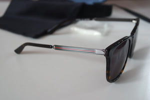Gucci 0078SK Brown Square Metal Leg Sunglasses