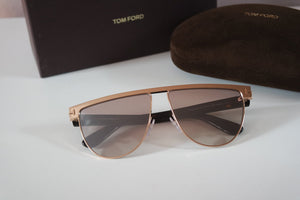 Tom Ford Stephanie Metal Flat Top Mirrored Sunglasses
