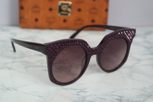 MCM 643SR Crystal Top Oversized Rounded Cat Eye Sunglasses