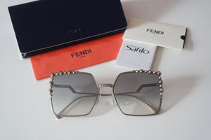 Fendi 0259 Silver Mirrored Square Oversized Sunglasses