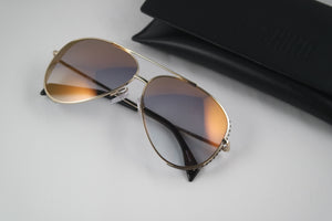 Moschino 007/S Mirrored Aviator Metal Sunglasses in Gold