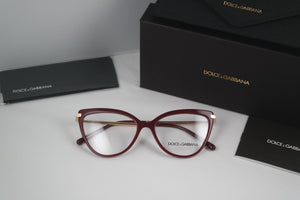 Dolce Gabbana 3295 Bordeaux Cat Eye Eyeglasses Frames