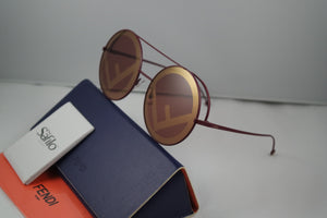 Fendi 0285 Logo Oversized Mirrored Round Sunglasses in Black Cherry