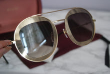 Load image into Gallery viewer, Gucci 0105S Round Gold Brown Lens TV Screen Sunglasses