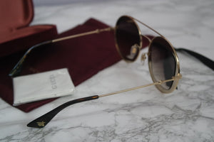 Gucci 0105S Round Gold Brown Lens TV Screen Sunglasses