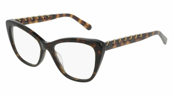 Stella McCartney SC0164O Havana Brown Cat Eye Chain Eyeglasses Frames