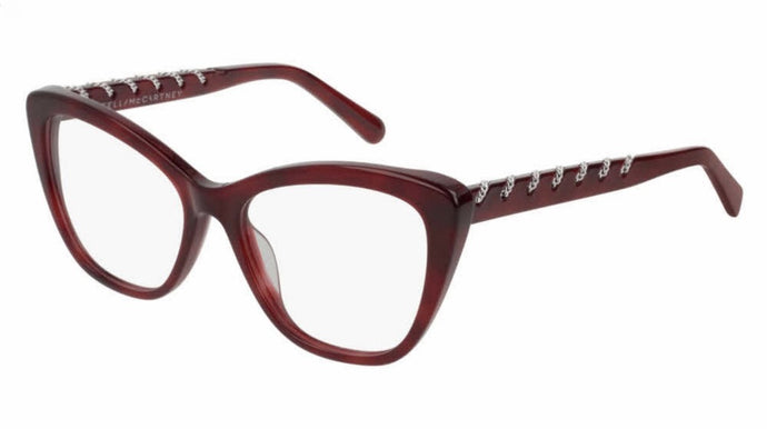 Stella McCartney SC0164O Havana Red Cat Eye Chain Eyeglasses Frames