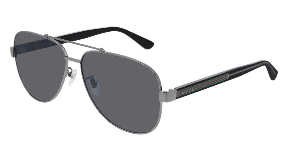 Gucci GG0528S Polarized Metal Aviator Ruthenium Sunglasses