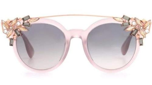 Jimmy Choo Vivy Detachable Crystal Clip On Round Sunglasses in Pink