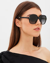 Load image into Gallery viewer, Gucci GG0092S Rounded Rectangle Logo Black Sunglasses