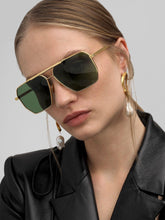 Load image into Gallery viewer, Bottega Veneta BV1012/S Minimalist Aviator Sunglasses in Gold/Green Lens