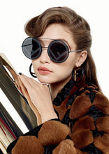 Load image into Gallery viewer, Fendi FF0285/S Logo Oversized Mirrored Round Sunglasses in Black